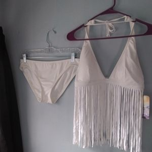 Fringe halter bikini set